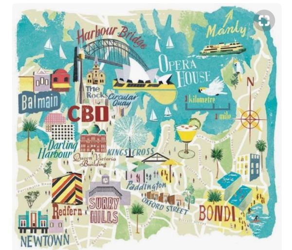 Cartoon map of Sydney