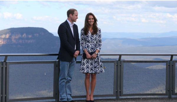 The Duke and uchess of Cambridge at Echo Point