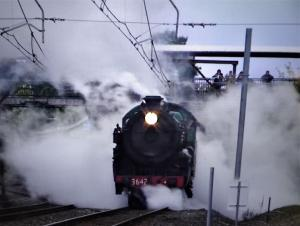 Steam train at Blackheath station NSW
