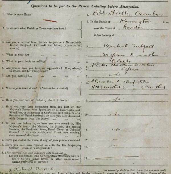 AIF Service Record of Robert Coombes