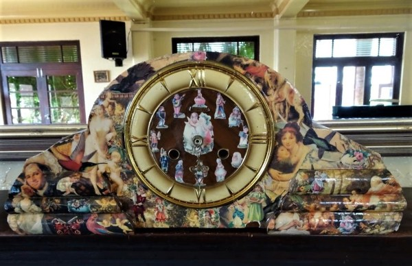 Collage clock at the Ivanhoe Hotel in Blackheath