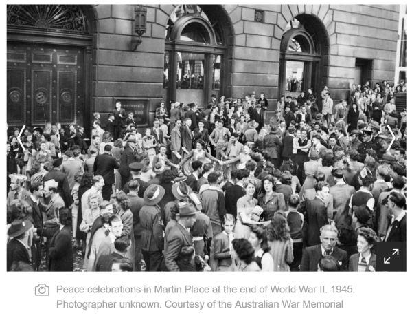 Peace Declared after WWII in Martin Place