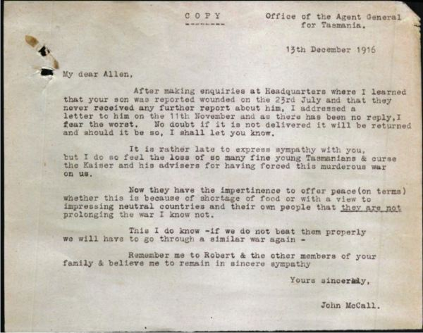 Letter from John Mcall in WWI