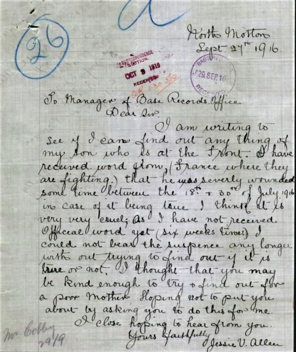 Letter from Jessie Allen re missing son.