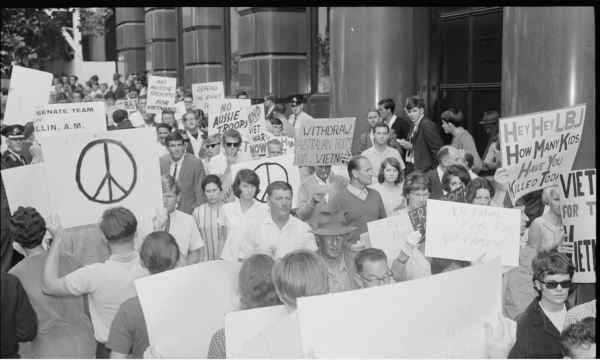 Anti-war demonstration in Martin Place, Sydney 1965