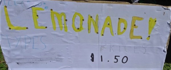 Lemonade for sale sign