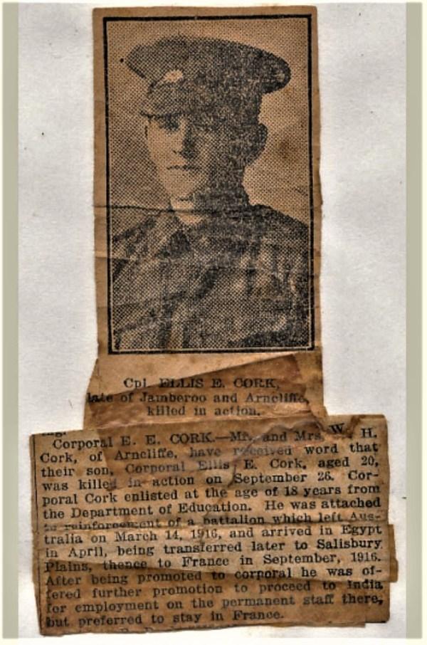 Corporal Ellis Cork - a precious memonto