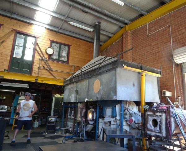 Glass furnace at Keith Rowe's studio in Blackheath.