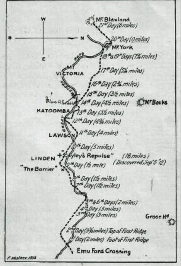 Map of journey across the Ble Mountains in 1813