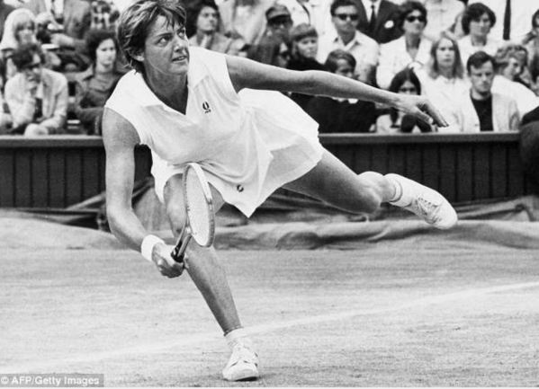 Margaret Court wearing Dunlop Volleys