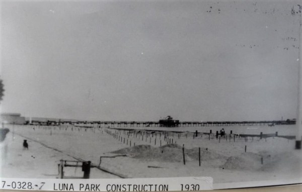 Laying out Luna Park in Glenelg.