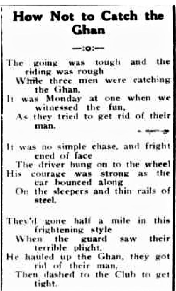 A poem about catching the famous Ghan.
