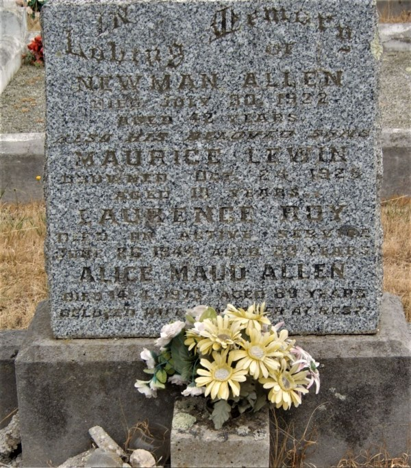 Allen family grave in the Ulverstone cemetery.