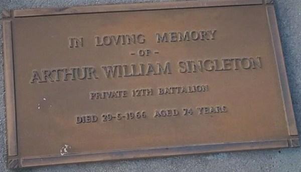Grave  of Arthur  William Singleton