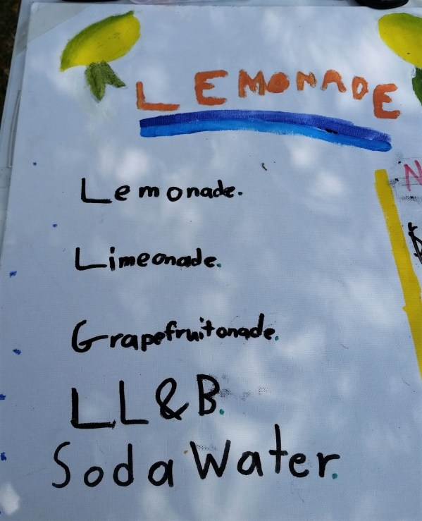 Menu from lemonade stall at the Blackheath Rhododendron Festival