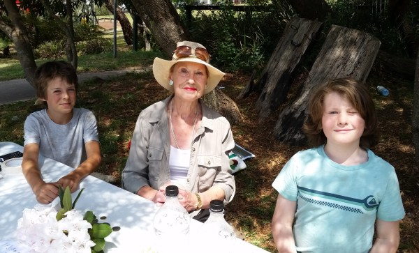 Pauline Conolly with Fergus and Luke at the lemonade stall