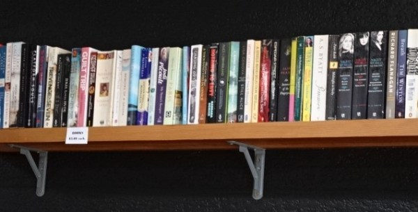 Shelf library at the  Wattle Cafe.