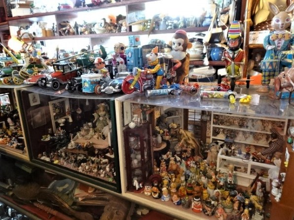 Display cases packed with treasures.