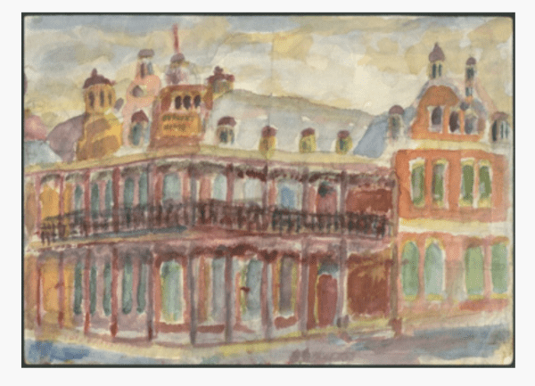 Watercolour of Furner's Hotel by Owen Lade
