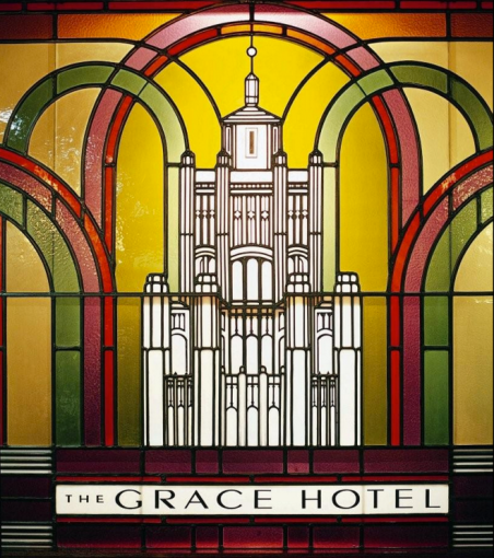Stained glass window at the Grace Hotel.