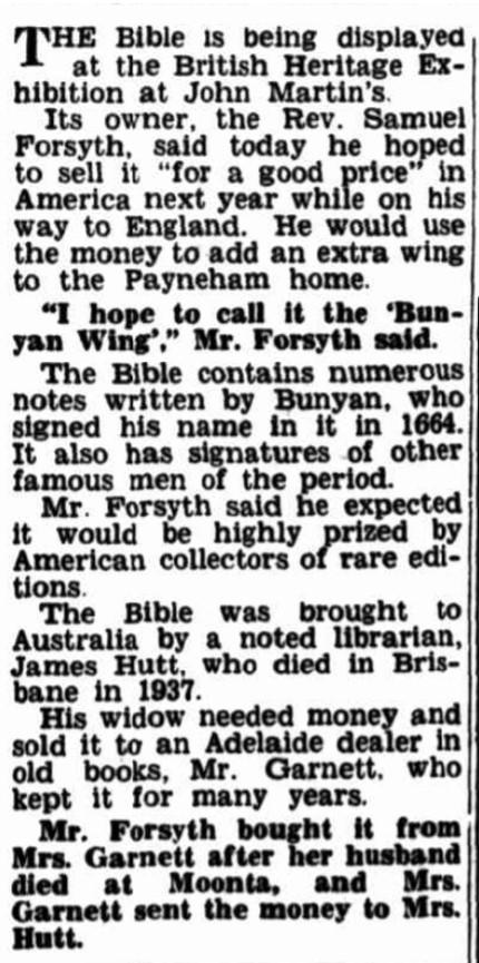 Article on the John Bunyan Bible and Samuel Forsyth.