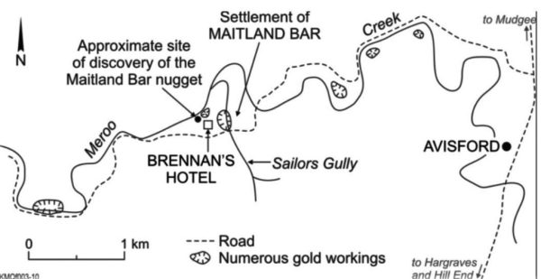 Map sbowing where the gold nugget was found.