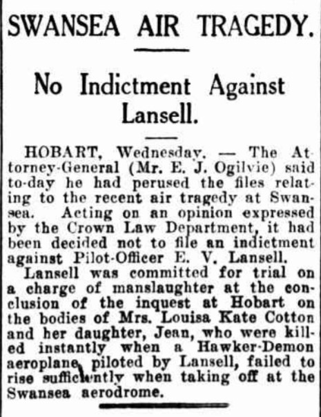 Outcome of the Swansea aircraft disaster.