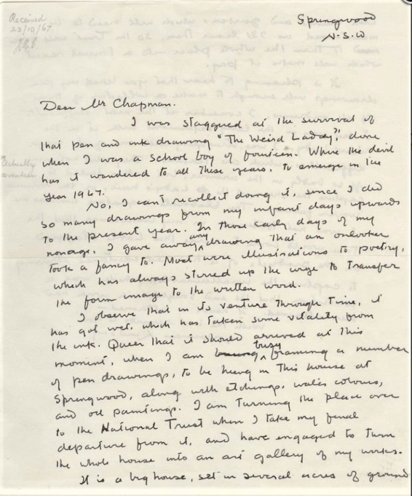 A Letter from Norman Lindsay in 1967.