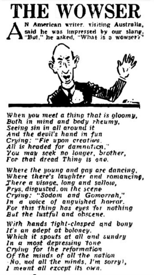 The Wowser - a poem explaining the term