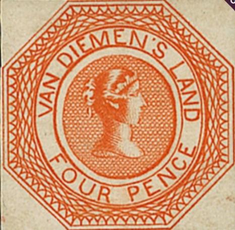 One of the four penny Van Diemen's Land stamps.