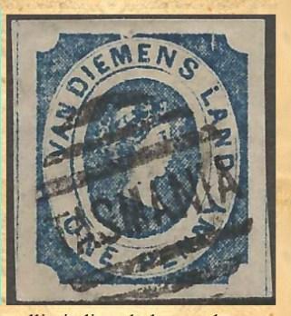 Fake one penny 'Courier' Van Diemen's Land  stamp. Unperforated.
