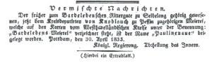 Faksimile der Notiz über die Namensgebung Paulinenaue. In: Amts-Blatt der Königlichen Regierung zu Potsdam und der Stadt Berlin. Stück 19 vom 30.05.1833, S. 122.