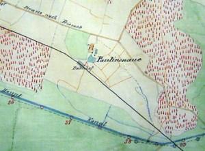 Abb. 1: Paulinenaue auf einer nach dem Urmesstischblatt gezeichneten Karte (1874)