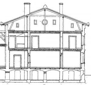 Der Längsschnitt durch das Gebäude zeigt sogar die Kellergewölbe.