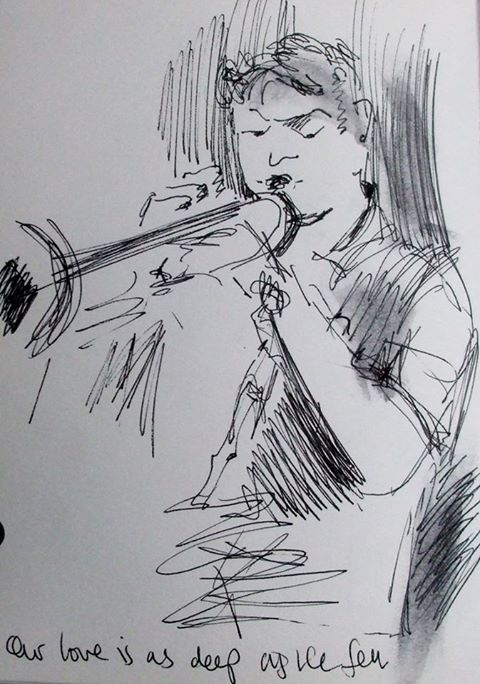 Black ink drawing of a trumpet player in full swing. Vibrant lines depict the motion of the performance.