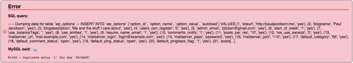 mySQL errors in phpMyAdmin