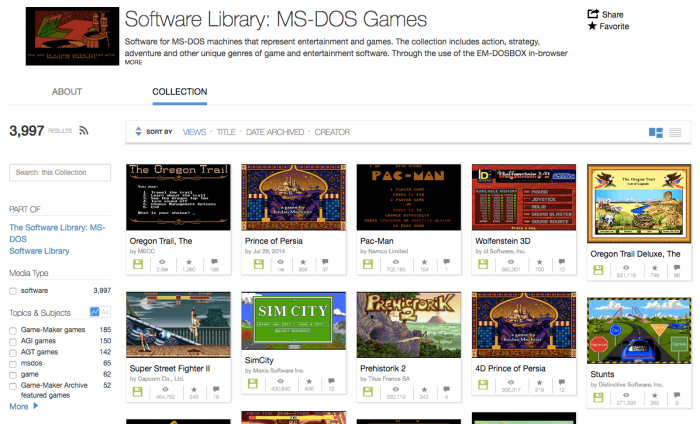 Old MS-DOS games on Archive.org