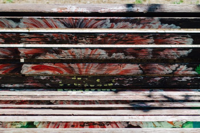 Faded city benches