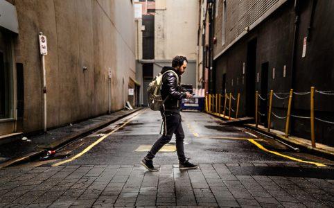 Texting while walking.