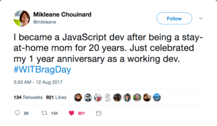 """#WITBragDay Mikleane Chouinard on Twitter """"I became a JavaScript dev after being a stay-at-home mom for 20 years J[...]"""