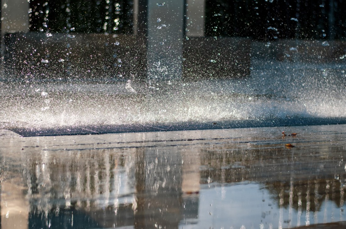 A fountain of water, shot at a relatively high shutter speed
