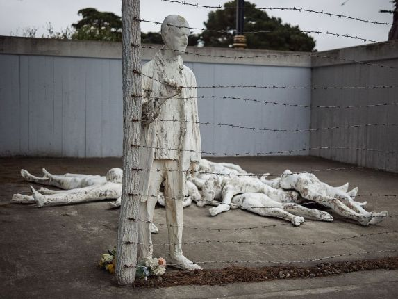 A Holocaust memorial in San Francisco, California. It was created by artist George Segal out of white painted bronze.