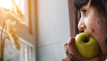 Biting into an apple