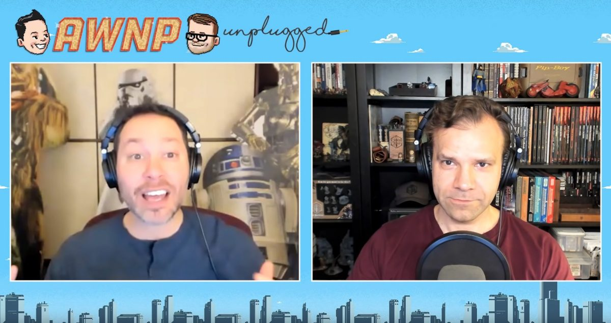 Sam Riegel and Liam O'Brien chatting on YouTube