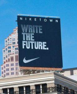 I'm not sure of the purpose of this Nike ad, but from a Social Media viewpoint it's 'write' on