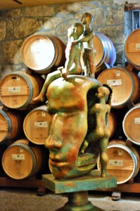Del Dotto's sculpture at the entrance to the wine cave