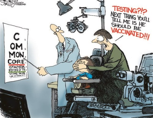 Cartoon in Chicago Tribune about parent reaction to Common Core