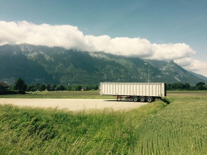 Lorry trailer in the Alps