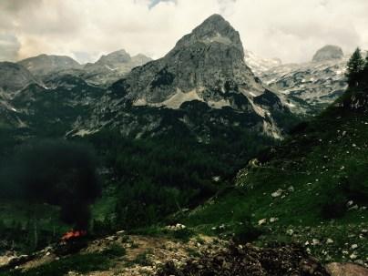 Fire with Mišeljski vrh behind, Slovenia
