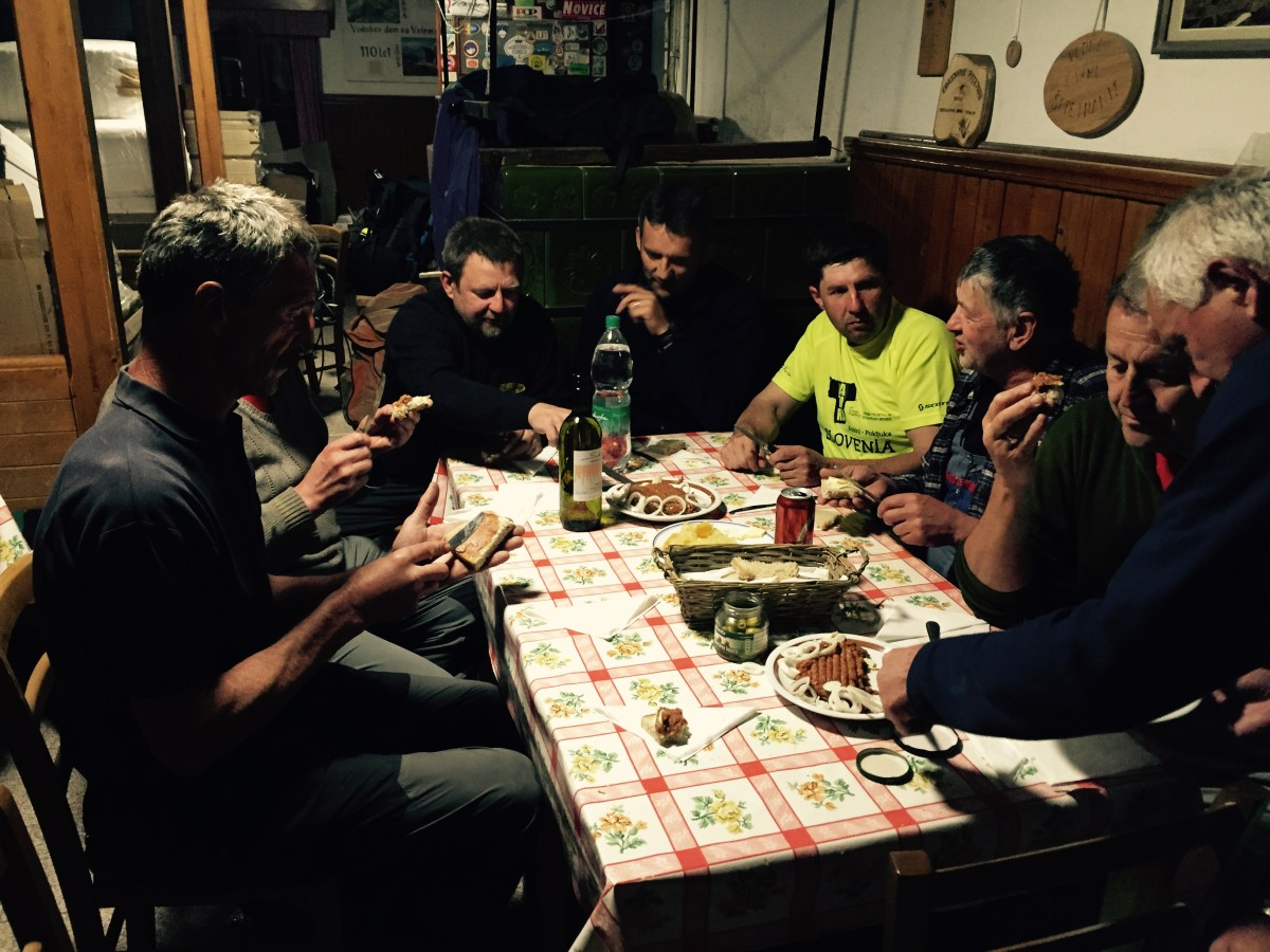 Eating with the builders of Vodnikov Dom, Slovenia